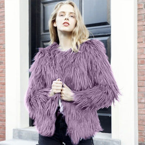 Fashion Winter Warm Long Sleeve Furry Fur Coat DE263 - Furdela Wholesale