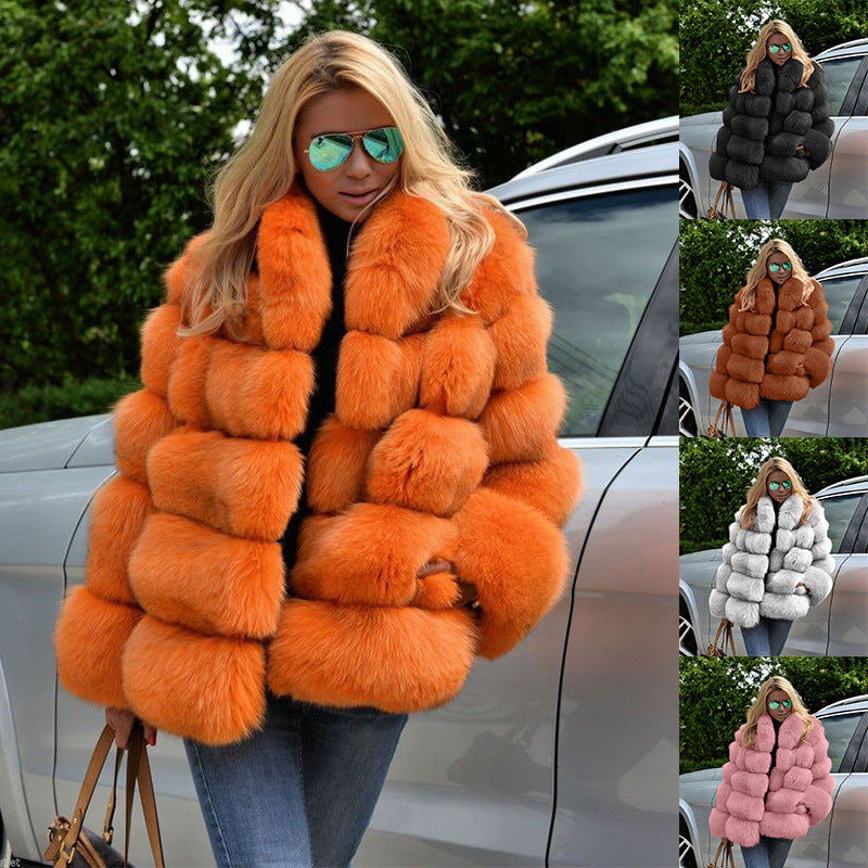 Winter Coat Women Luxury Faux Fox Fur Coat F1819 - Furdela Wholesale
