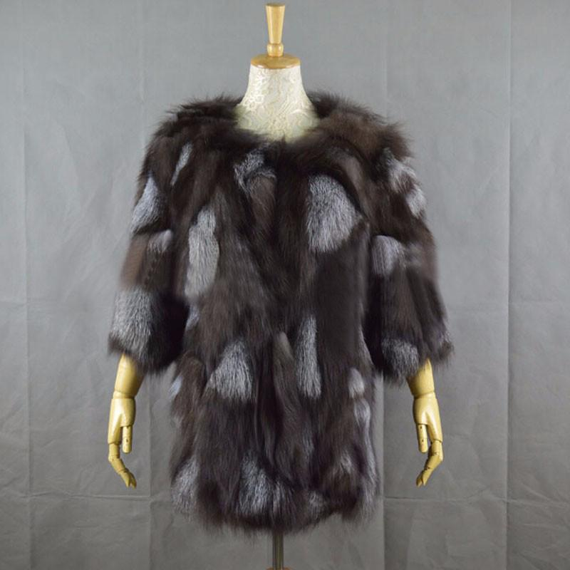 Mixcolored Fox Fur Coat - Furdela Wholesale