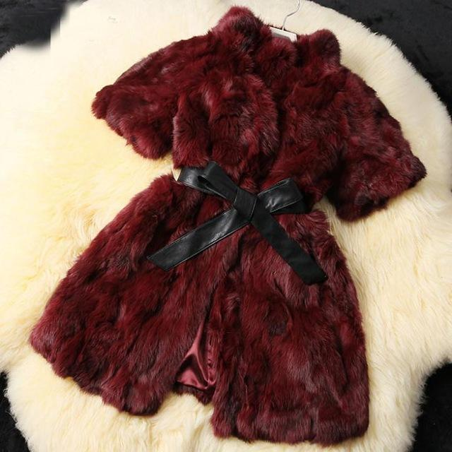 Rabbiat Fur Coat With Short Sleeve DO394 - DelaFur Wholesale