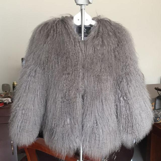 Full Pelt Mongolia Tan Sheep Fur Coat 50CM DO881 - Furdela Wholesale
