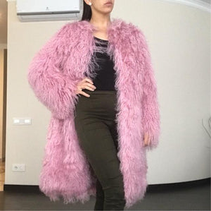 Mongolia Sheep Fur Coat 100CM - DelaFur Wholesale