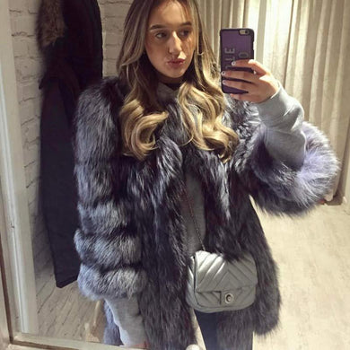 Silver Fox Fur Coats 90CM - DelaFur Wholesale