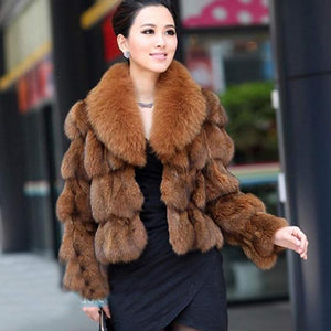 Luxury Fox Fur Coat With Collar 50CM - DelaFur Wholesale