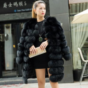 Horizontal 9 Bars Full Pelt Fox Fur Coat 87CM - Furdela Wholesale