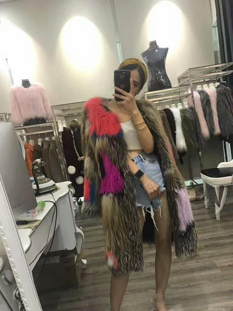Mixcolored Raccoon Fur Coats 90CM - Furdela Wholesale