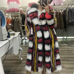Load image into Gallery viewer, Mixcolored Raccoon Dog Fur Coat - DelaFur Wholesale