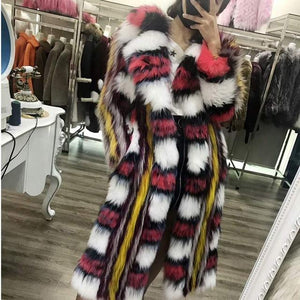 Mixcolored Raccoon Dog Fur Coat - DelaFur Wholesale