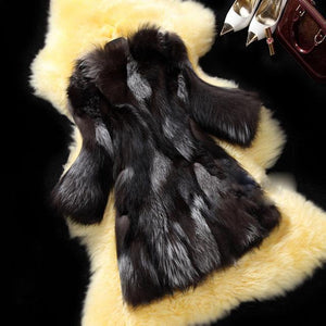 Mixcolored Fox Fur Coat - DelaFur Wholesale