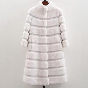 Horizontal Rex Rabbit Fur Coat 93CM - DelaFur Wholesale