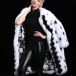 Load image into Gallery viewer, White With Black Raccoon Fur Coat 95CM - Furdela Wholesale