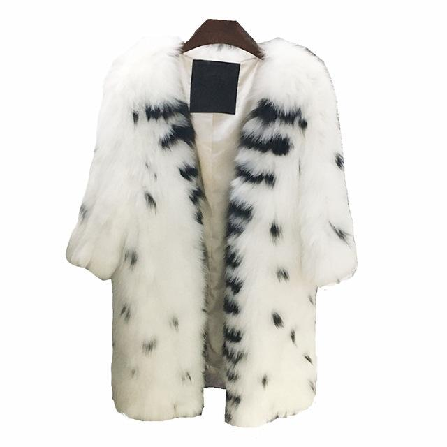 White With Black Raccoon Fur Coat 95CM - Furdela Wholesale