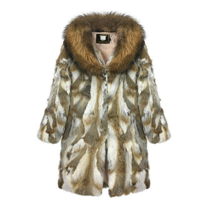 Rabbit Fur Coat With Big Raccoon Fur Collar - DelaFur Wholesale