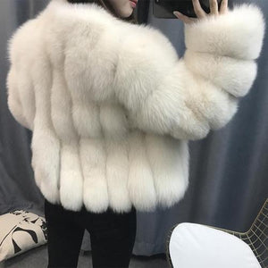 Luxury White Fox Fur Coat 50CM DO1532 - Furdela Wholesale