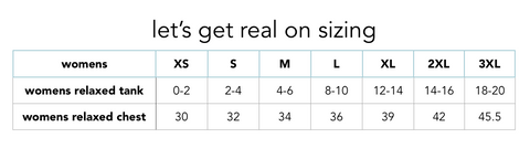 lets get real on sizing chart
