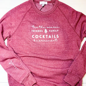 womens sweatshirt in cranberry color.  vintage style sweatshirt.  red fleece sweatshirt with screen printed white quote on front.  holiday sweatshirt for women.  christmas quote on sweatshirt.