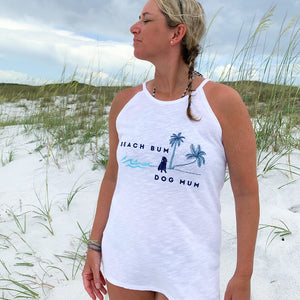 beach bum dog mum high neck tank