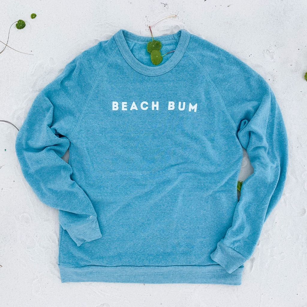 beach bum aqua blue crewneck sweatshirt.  beach bum vintage sweatshirt.  turquoise blue sweatshirt for the beach.  womens beach sweatshirts.  womens beach apparel.  cozy beach sweatshirt.  coastal blue sweatshirt for women.