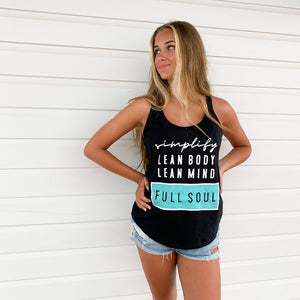 simplify ~ lean body lean mind full soul racer tank