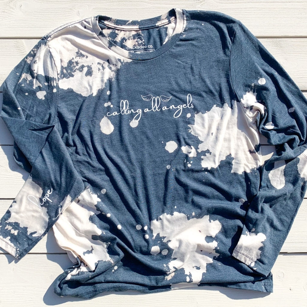 calling all angels ~ hand bleach-dyed long sleeve tee