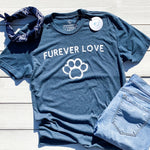 super soft vintage tshirt in blue. unisex blue triblend tshirt for men and women. dog lovers tshirt with furever love quote. dog lovers tshirts. furever love dog message. apparel for dog lovers. heathered blue tshirt with white screen printed design on front. favorite tshirts.