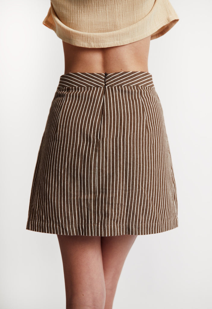 'Mocha' Striped Cotton Skirt