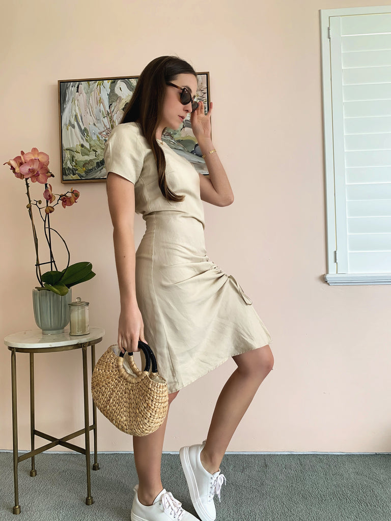 'Honeycomb' Luxe Linen Dress