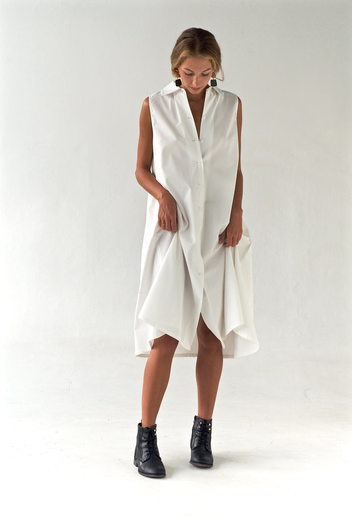 'Arctic' Crisp Cotton Dress