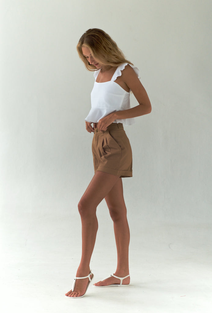 'Chestnut' Cotton Shorts