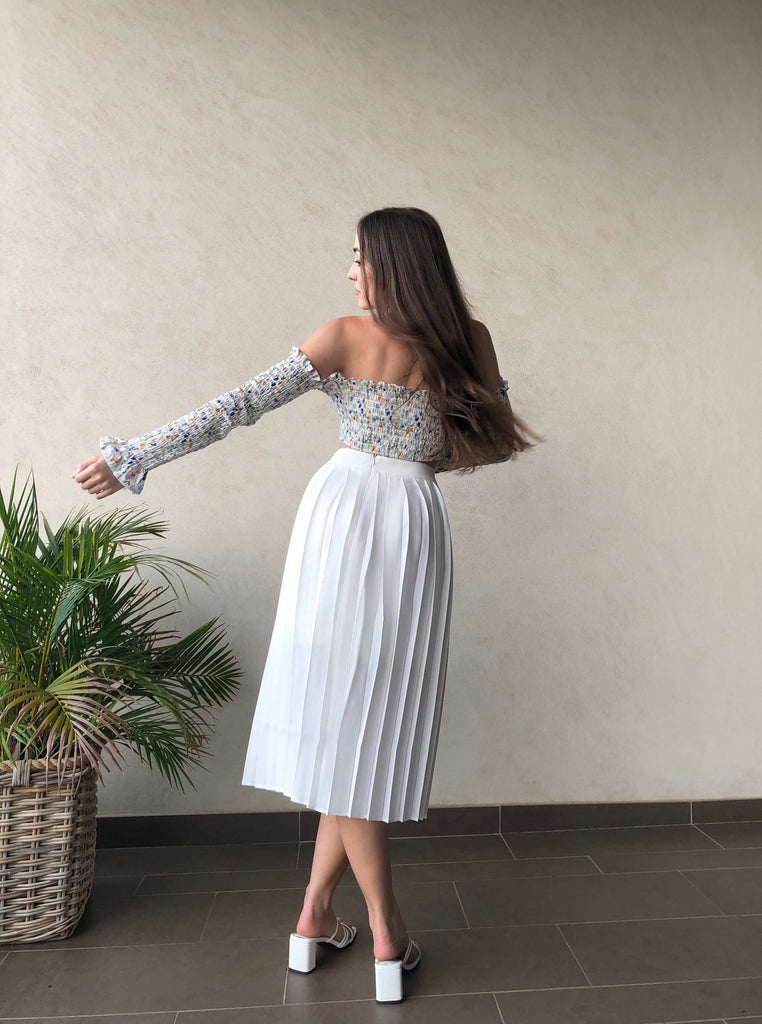 'Snow White' Pleated Cotton Midi