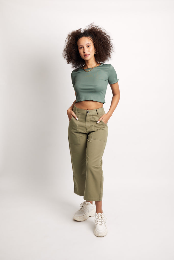 'Sage' Sateen Crop