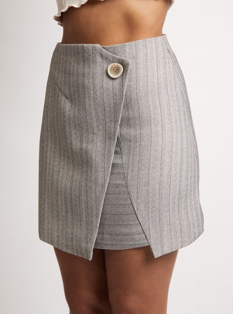 'Earl Grey' Button Skirt