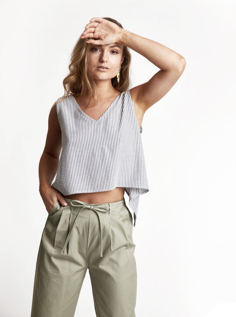 Sage 'Bow' Cotton Pants