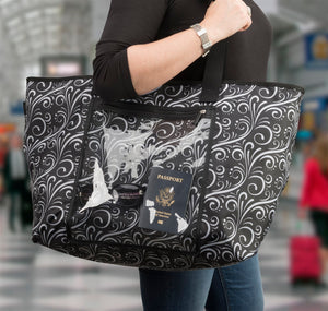 Show and Tell Tote - White Waves - Fall Getaway Special - 60% Off