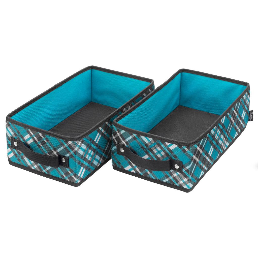 Handle It Bins - Set of 2 - Teal Plaid