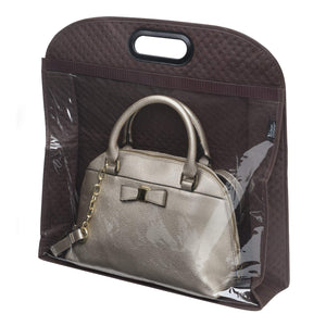 Classy Quilted Window Bag - Large - Chocolate - 75% OFF