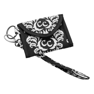 Card Keeper Keychain - Damask With Black - 75% OFF