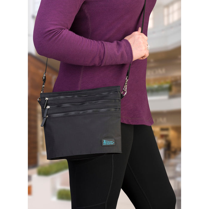 Zip It Up Crossbody - Black -  Summer Special - 50% OFF Plus Free String Backpack