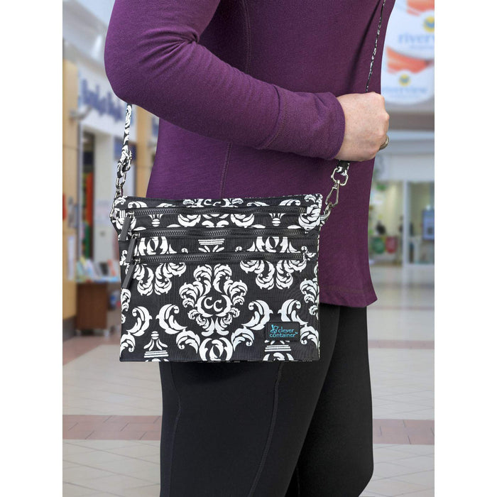 Zip It Up - Crossbody Bag - Damask with Black