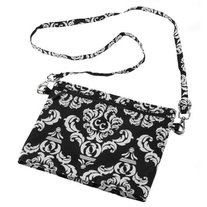 Zip It Up Crossbody - Damask with Black