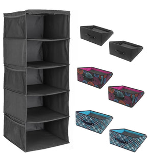 5-Shelf Closet Organizer - Black + 2 Handle It Reversible Bins - Bundle