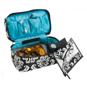 Anything Goes Bag - Damask with Teal