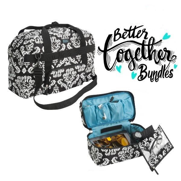 Anything Goes Bag - Damask Teal + Bag in a Bag - Damask Black - Bundle