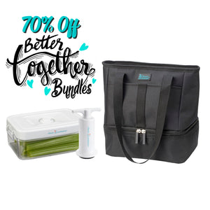 Let's Do Lunch Tote - Black + 1.5 qt Clever Fresh Canister + Manual Pump - Clever Fresh Special - 70% OFF