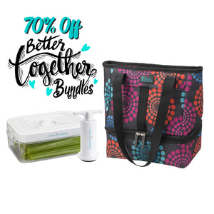 Let's Do Lunch Tote - Bright Lights + 1.5 qt Clever Fresh Canister + Manual Pump - Clever Fresh Special Bundle- 70% OFF