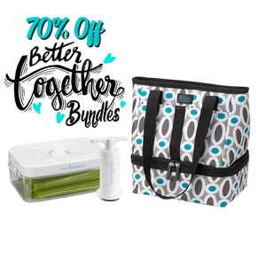 Let's Do Lunch Tote - Modern Links + 1.5 qt Clever Fresh Canister + Manual Pump - Clever Fresh Special Bundle - 70% OFF