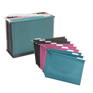 Black Mesh File Holder + Hanging File Folders - Get Organized Bundle