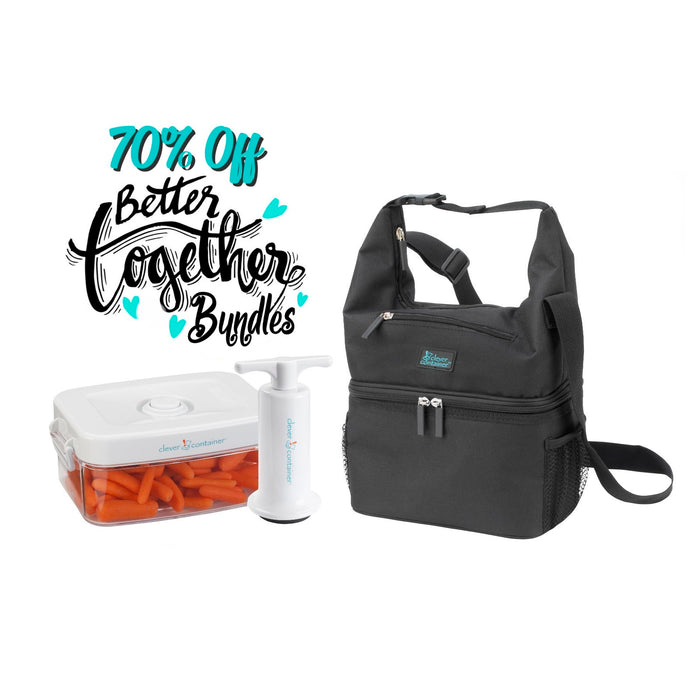 Pack and Snack Bag - Black + 1.0 qt Clever Fresh Canister + Manual Pump - $15 Bundle Special
