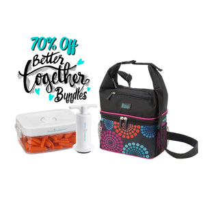 Pack and Snack Bag - Bright Lights + 1.0 qt Clever Fresh Canister + Manual Pump - Clever Fresh Special Bundle - 70% OFF