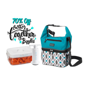 Pack and Snack Bag - Modern Links + 1.0 qt Clever Fresh Canister + Manual Pump - Clever Fresh Special Bundle - 70% OFF